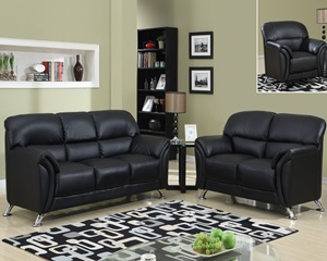Cosmo 3 Pc Black Leather Sofa, Loveseat and Chair