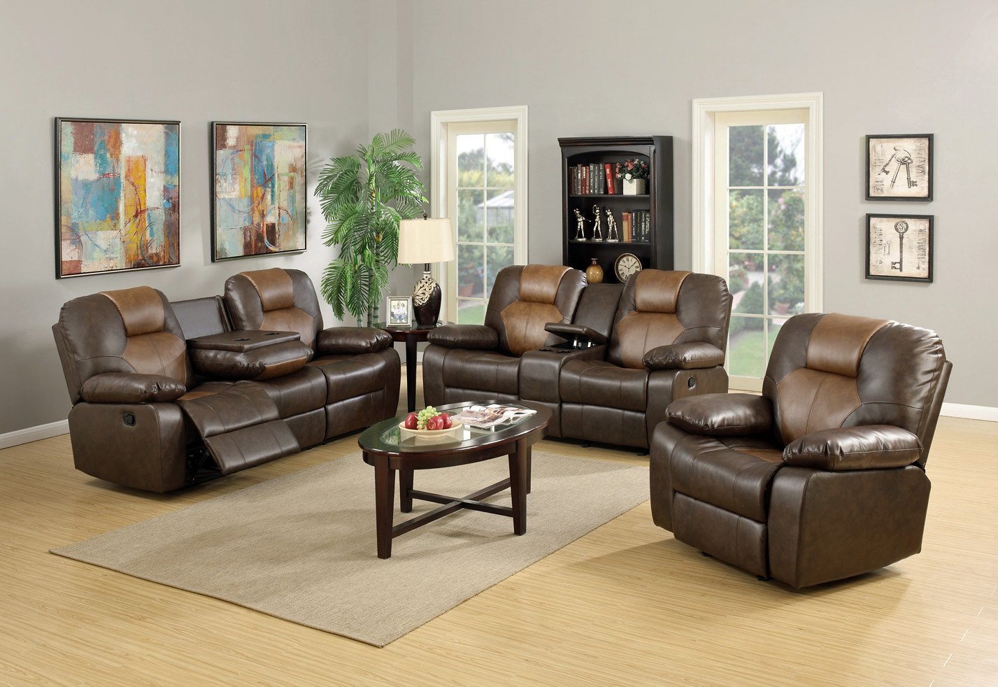Mac 39 s furniture two tone reclining leather sofa and loveseat for Best rated living room furniture