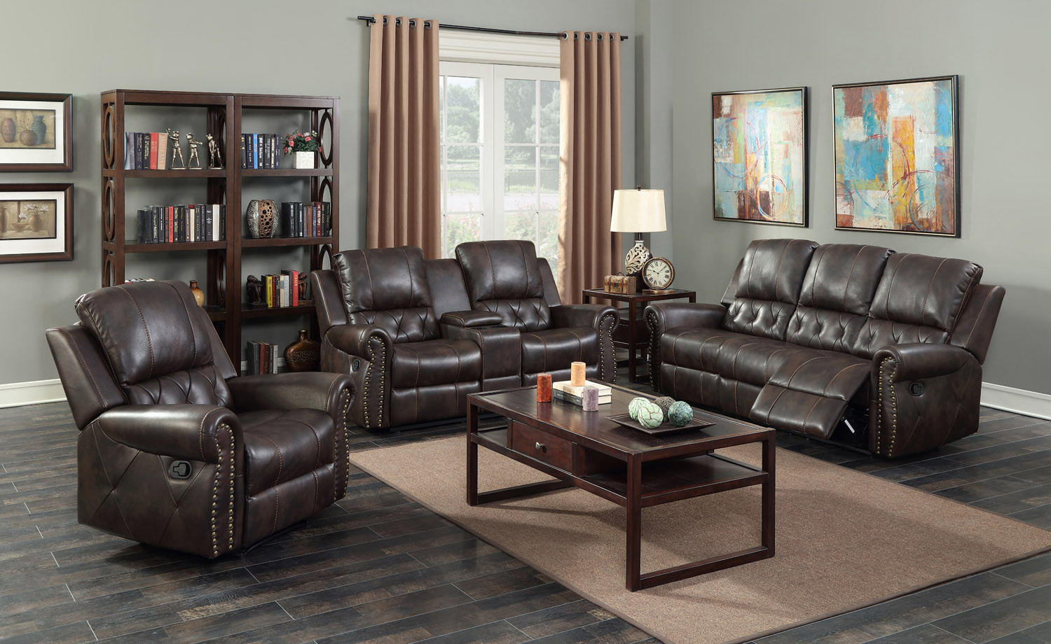 Bravo 3 Pc Leather Reclining Sofa, Loveseat and Recliner