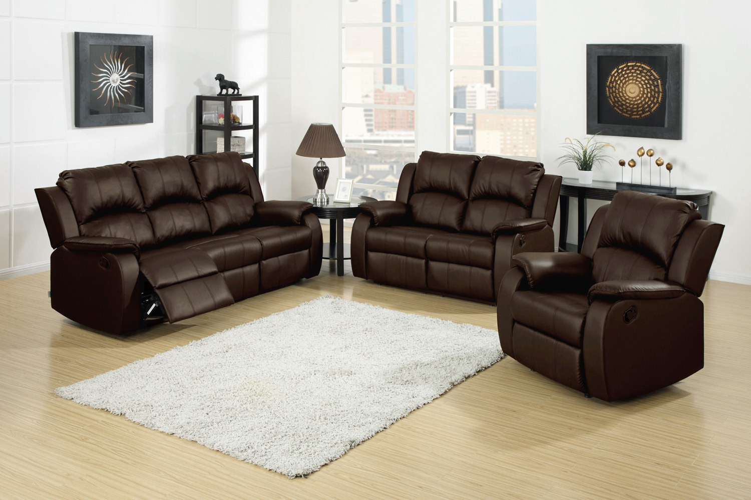 Berlin 3 Pc Leather Reclining Sofa, Loveseat and Recliner