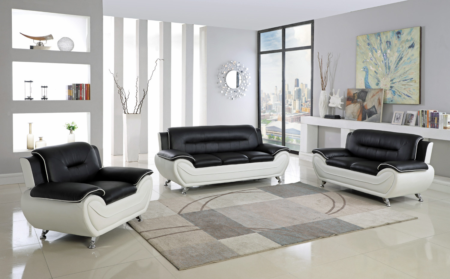 Astonishing Lincoln 3 Pc Black And White Sofa Loveseat And Chair Forskolin Free Trial Chair Design Images Forskolin Free Trialorg