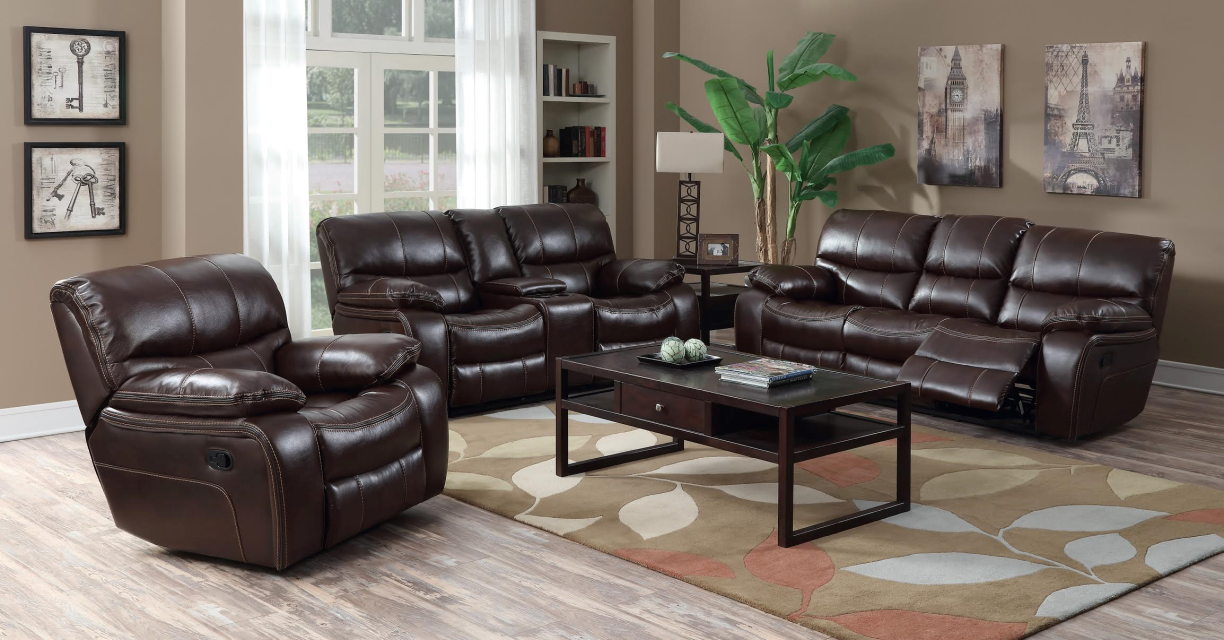 Florence 3 Pc Leather Reclining Sofa, Loveseat and Recliner