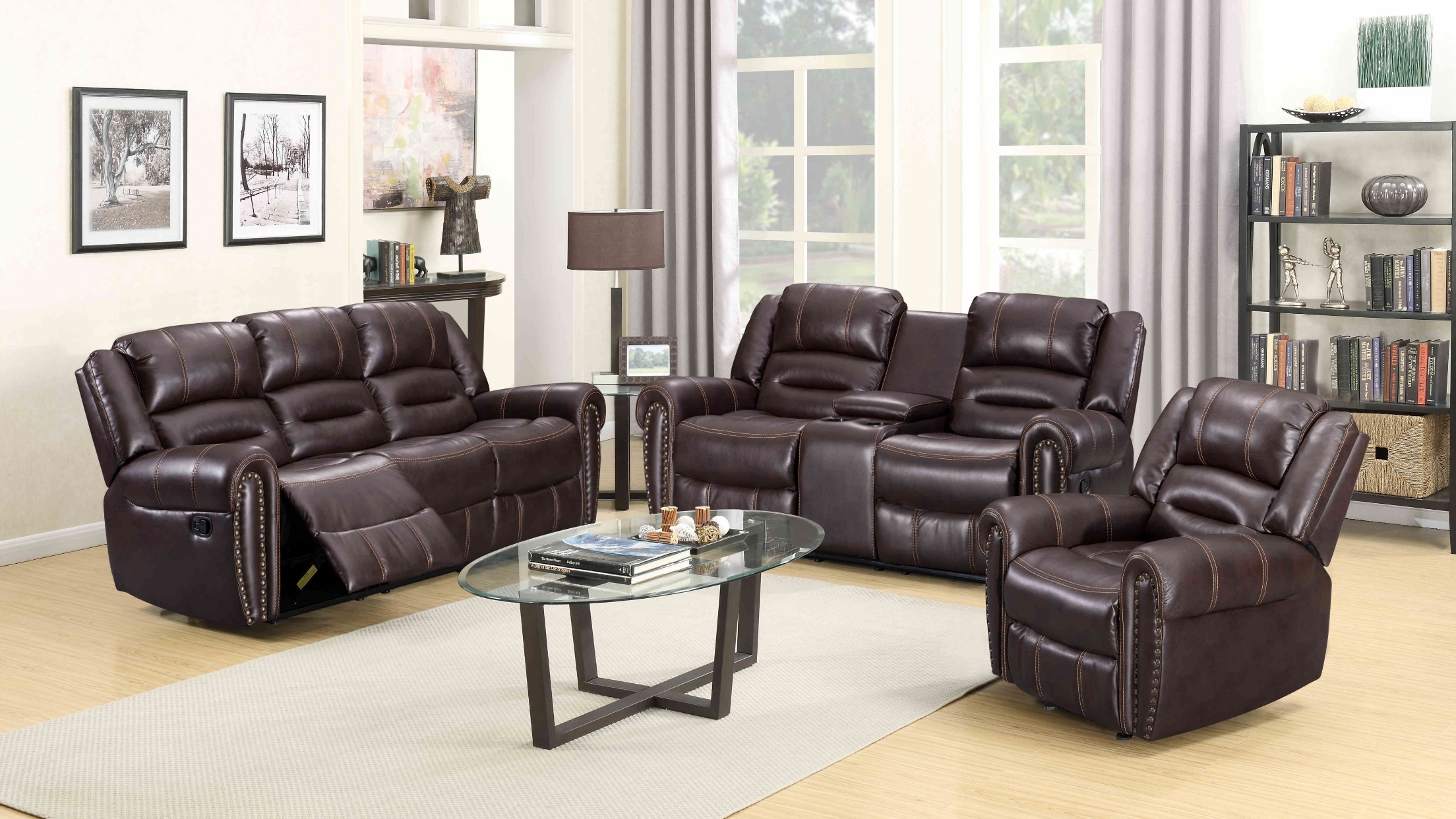 Lexington 3 Pc Leather Reclining Sofa, Loveseat and Recliner